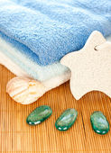 Towels with decoration — Stock Photo