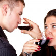 Couple drinking red wine — Stock Photo #1966131