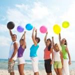 Happy with balloons — Stock Photo