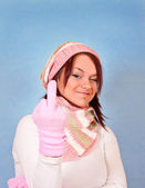 Winter girl poitning her finger — Stock Photo