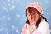 Girl freezing on snow — Stock Photo