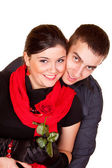 Couple and a rose — Stock Photo