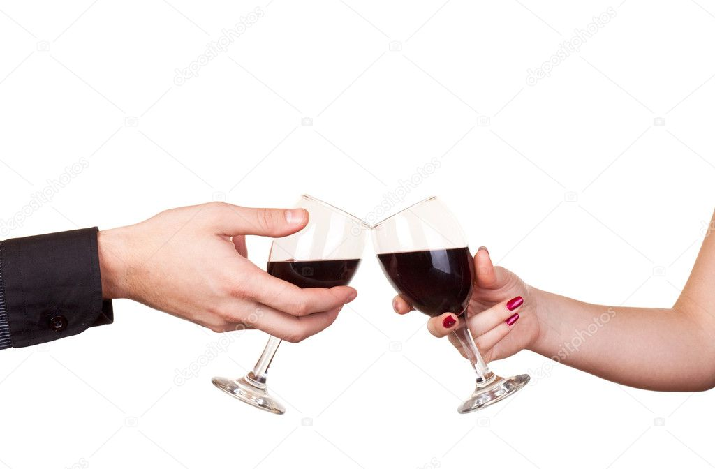 Close up of two hands holding glasses of wine  Stock Photo #2027047