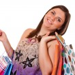 Happy shopping with credit card — Stock Photo