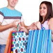 Smiling shopper couple — Stock Photo
