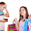 Man with wallet and girl with bags — Stock Photo