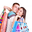 Royalty-Free Stock Photo: Couple holding shopping  bags