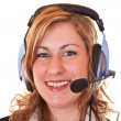 Woman with headset and microphone — Stock Photo