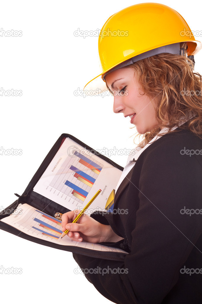 Young happy business woman in black suit with yellow helmet writing — Stock Photo #2450583