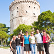 Happy group tourist in Greece - Stock Photo