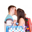 Couple with bags kissing — Stock Photo #2541612