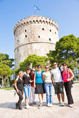 Happy group tourist in Greece — Stock Photo