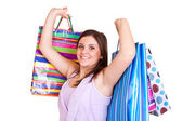 Woman holding colorful bags — Stock Photo