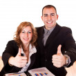 Business holding thumbs up — Stock Photo