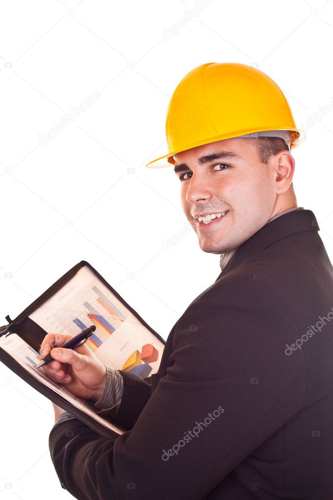 Young attractive businessman with helmet on his head  — Stockfoto #2626721