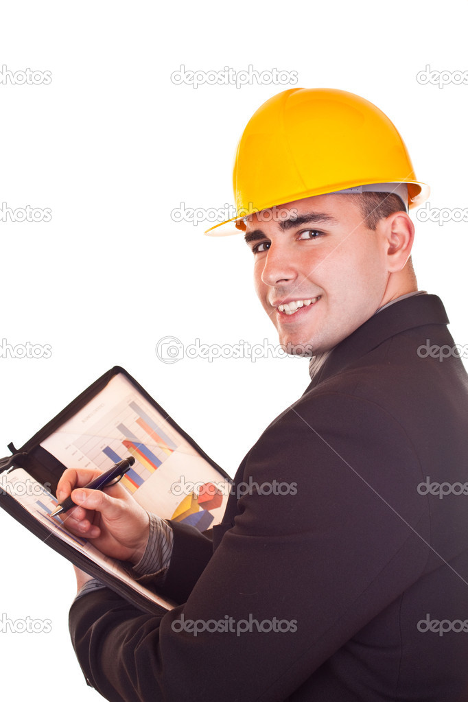 Young attractive businessman with helmet on his head  — Foto Stock #2626721