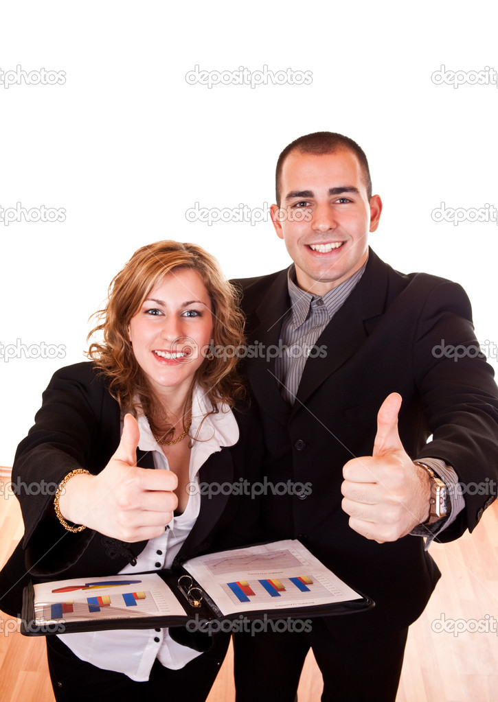 Young attractive businessman and businesswoman holding thumbs up — Stock Photo #2626980