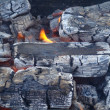 Stock Photo: Fire in burning charcoal