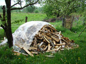 Firewood stacked on the grass — Stock Photo