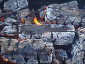 Fire in burning charcoal — Stock Photo