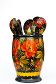 Decorative jar and spoon — Stockfoto