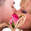 Couple With A Flower — Stock Photo