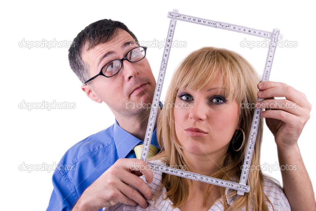 Attractive woman and her handsome boyfiend dream about house — Stock Photo #1883476
