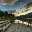 Sunset in Trillium Lake - Stock Photo