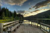 Sunset in Trillium Lake — Stock Photo