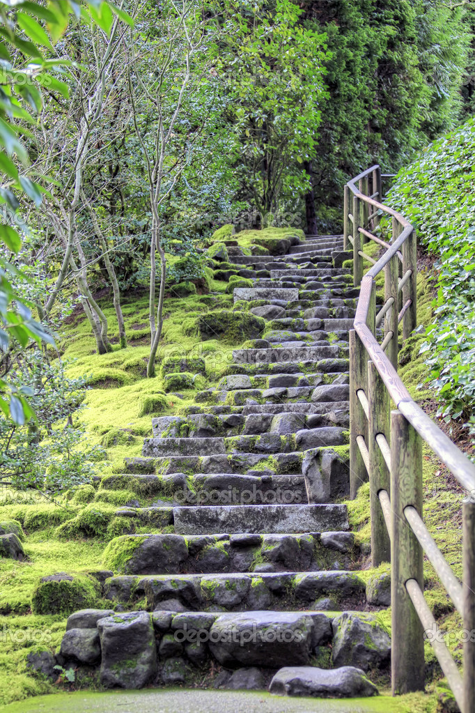 Stone Stairs Steps at Portland Japanese Garden — Stock Photo #1969759