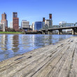 Portland Skyline from the Docks - Stock Photo