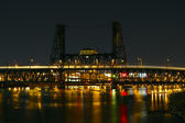 Train Light Trails Over Steel Bridge — Stock Photo