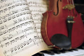 Music Sheets with Blur Violin Piano — Stock Photo
