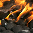 Charcoal on fire - Stock Photo