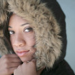 Hooded woman portrait — Stock Photo