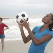 Stock Photo: Women and soccer