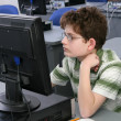 Boy on computer — Stock Photo