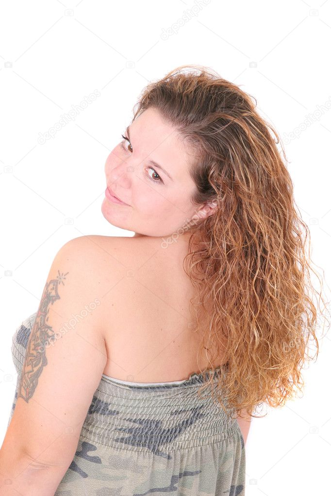 Half length portrait of one attractive plus size woman turned around over white — Stock Photo #2036462