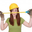 Construction worker female — Stock Photo