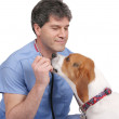 Veterinarian and puppy — Stock Photo