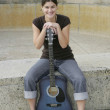 Woman guitarist - Foto Stock