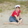 Sailor womon beach — Stock Photo #2041939