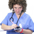 Fuzzy haired woman doctor — Stock Photo