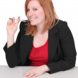 Business redhead over white — Stock Photo #2043405