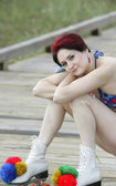 Red haired skater — Stock Photo