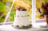 Outdoor wedding cake — Stock fotografie