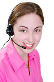 Happy woman on telephone headset — Stock Photo