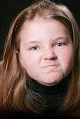 Funny angry young girl — Stock Photo