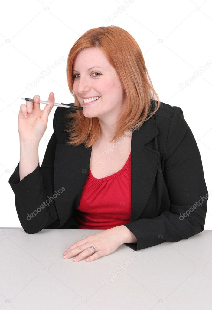 One young adult red haired business lady in black and red over white — Stock Photo #2043405