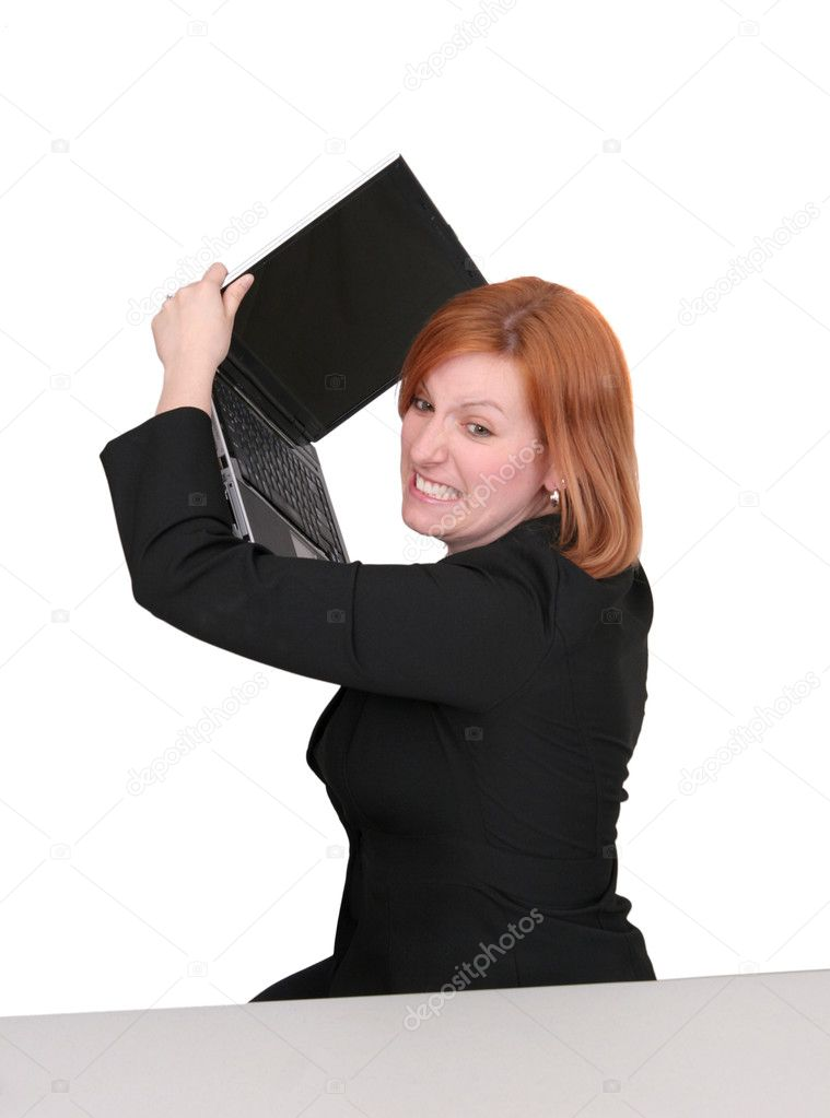 One young adult red haired business lady in black and red over white frustrated with her computer — Stock Photo #2043411
